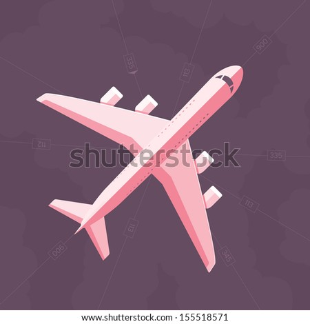 Aircraft viewed from the top against the flight route background - stock vector