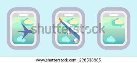 Aircraft Windows, airplane windows - stock vector
