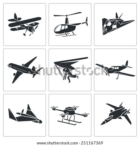Aircrafts Vector Icons Set - stock vector
