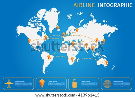 Airline and plane Vector infographic,  World map . all airline fly across the world - stock vector