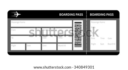 Airline boarding pass card ticket isolated. Vector illustration - stock vector