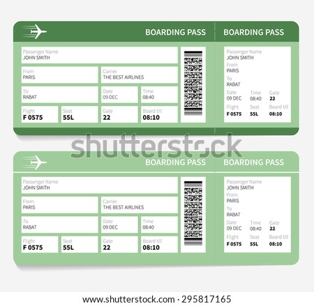 Airline boarding pass. Green ticket isolated on white background. Vector illustration - stock vector