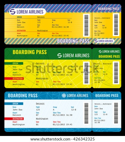 Airline boarding pass modern tickets vector mockup. Ticket template to charter plane, pass boarding ticket travel illustration - stock vector