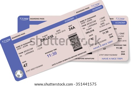 Airline boarding pass ticket with QR2 code. Concept of travel, journey or business. Isolated on white. Vector illustration