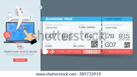 Airline boarding pass tickets. Booking tickets online. Web template - stock vector