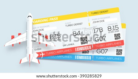 Airline boarding pass tickets. Booking tickets. Two tickets on aircraft. Web template - stock vector