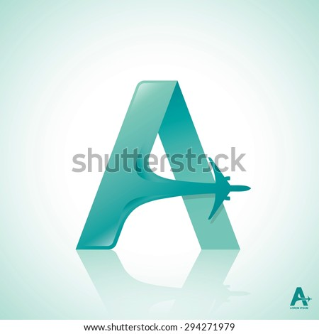 "Airline logo design with capital letter ""A"" - vector illustration  - stock vector"