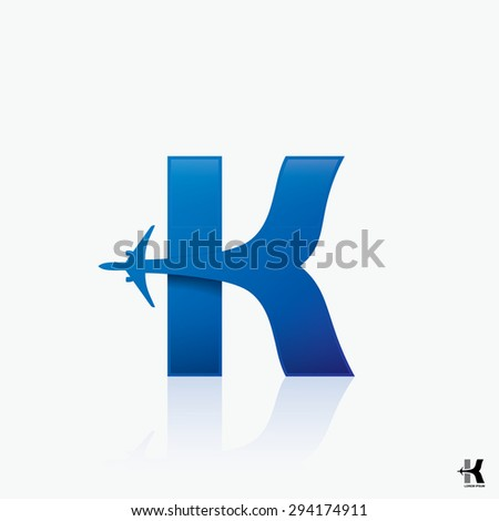"Airline logo design with capital letter ""K"" - vector illustration - stock vector"
