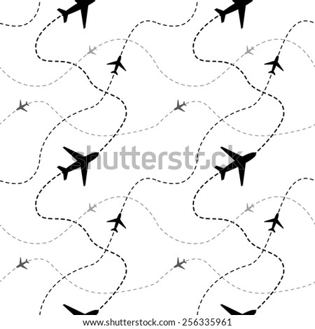 Airline routes with planes on white background seamless pattern - stock vector