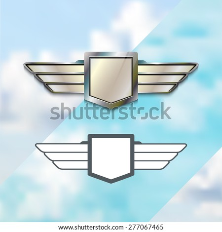 Airline Silver Logo Concept. Silver Metal Sign with Wings. Vector Emblem. Icon Template Elements. - stock vector