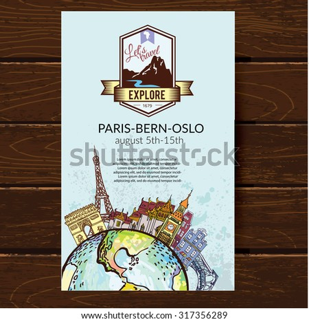 Airline ticket. Travel background.  All elements and textures are individual objects.  - stock vector