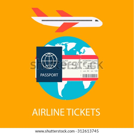 Airline tickets concept with globe, boarding pass and passport, vector illustration - stock vector