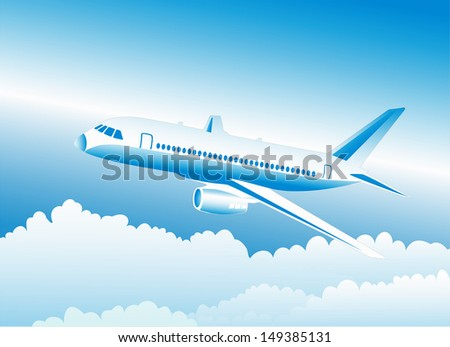 airliner in the sky - stock vector