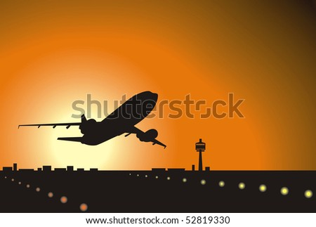 airliner landing at sunset - stock vector