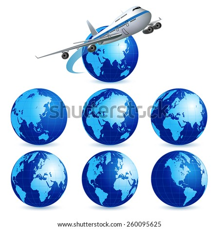 Airliner with a globe on the white background. Vector illustration - stock vector