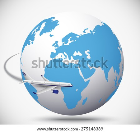 Airliner with globe in the white background. vector illustration - stock vector