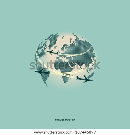 Airliners on world map background, retro poster. Flat  design - stock vector