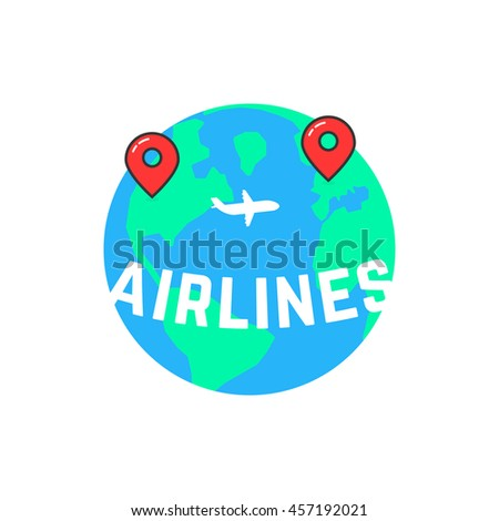 airlines like build a route. concept of vessel mark, voyage, direction, ocean, airliner, jetliner, passage, marker. flat style trend modern logotype design vector illustration on white background - stock vector