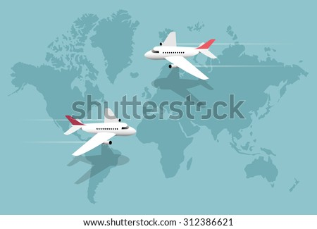 Airlines, planes over world map, vector illustration - stock vector