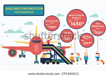 Airlines service Infographics,vector,illustration. - stock vector