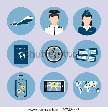 Airlines travel concept icons set with pilot stewardess passport luggage trolley tickets vector isolated illustration - stock vector