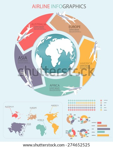 Airlines travel infographic elements. Can be used for workflow layout, banner, diagram, web design, timeline, info chart, statistic template. vector illustration - stock vector