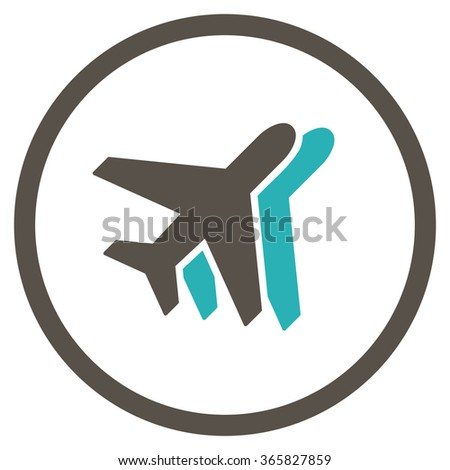 Airlines vector icon. Style is bicolor flat circled symbol, grey and cyan colors, rounded angles, white background.