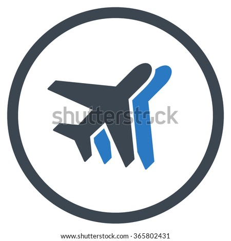 Airlines vector icon. Style is bicolor flat circled symbol, smooth blue colors, rounded angles, white background.