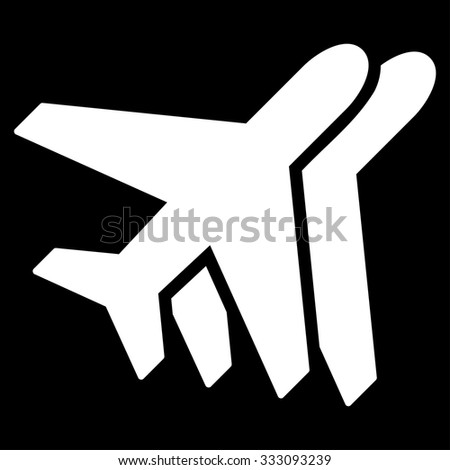 Airlines vector icon. Style is flat white symbol, rounded angles, black background.