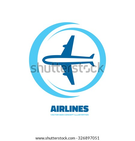 Airlines - vector logo concept. Aircraft illustration. Airplane logo. Tickets company logo. Minimal classic style. Airplane silhouette for transportation and travel company. Travel agency logo.  - stock vector