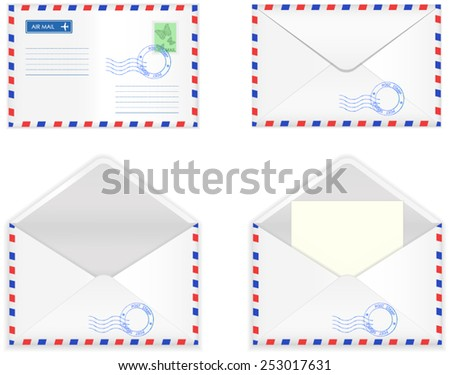 Airmail envelope  - close and open with paper. Vector illustration - stock vector