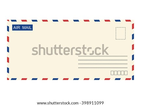 Airmail envelope. Vector base for further processing. Without gradients on one layer. - stock vector