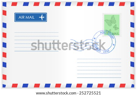 Airmail envelope with stamp - vector - stock vector