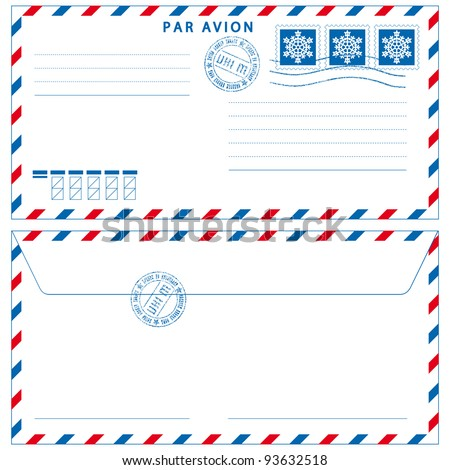 Airmail envelope with stamps on white - stock vector