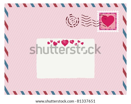 airmail love envelope with stamp and label ready for text