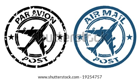 airmail stamp in grunge style - stock vector