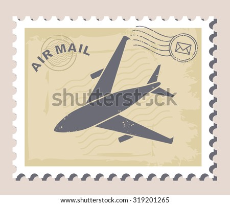airmail stamp, vector - stock vector