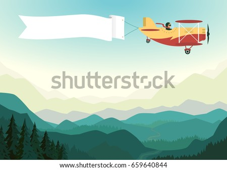 Airplane Above The Mountains With White Ribbon In Blue Sky Biplane Banner Vintage