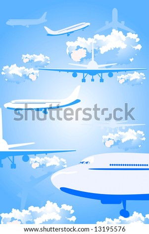 airplane against a backdrop of blue sky with clouds