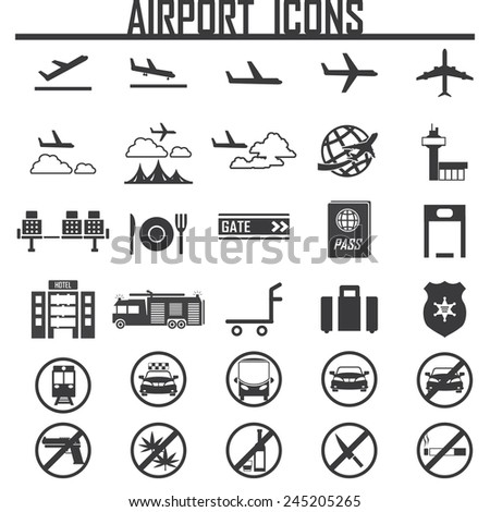 airplane, airport  icon, isolated, on white background. Exclusive Symbols  - stock vector