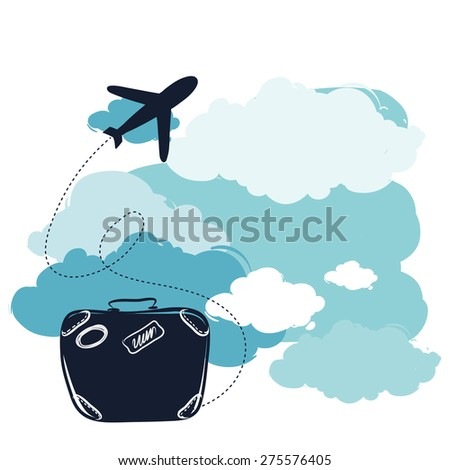 airplane and suitcase. The concept of travel and vacation.  - stock vector