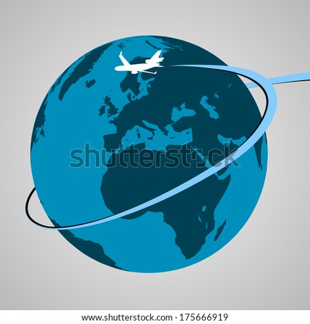 Airplane Around the World | EPS10 Vector - stock vector