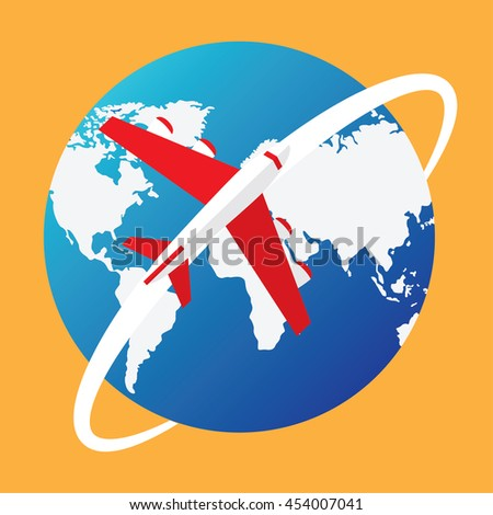 airplane around the world. travel or transportation design concept. - stock vector