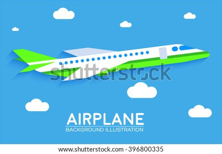 Airplane background flat concept - stock vector