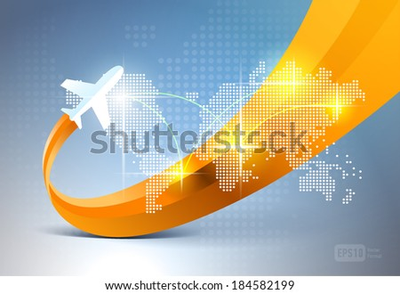 airplane background map - stock vector