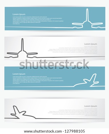 Airplane banners - vector illustration - stock vector