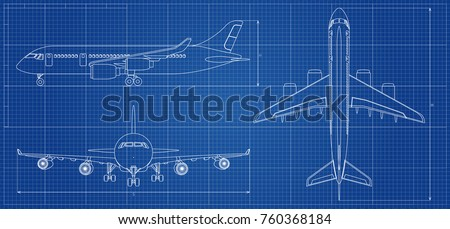 Airplane blueprint outline aircraft on blue stock vector 760368184 airplane blueprint outline aircraft on blue background vector illustration aviation drawing blueprint malvernweather Choice Image