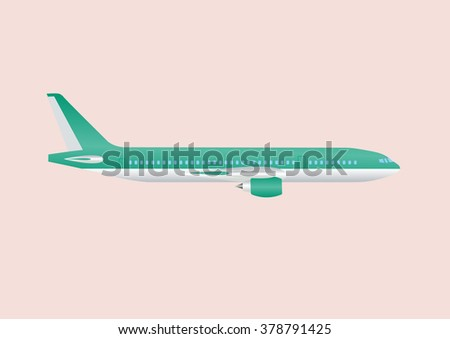 Airplane civil aviation travel passenger air plane vector illustration. Civil commercial airplane.Airplane isolated on background. Cargo transportation airplane vector isolated - stock vector