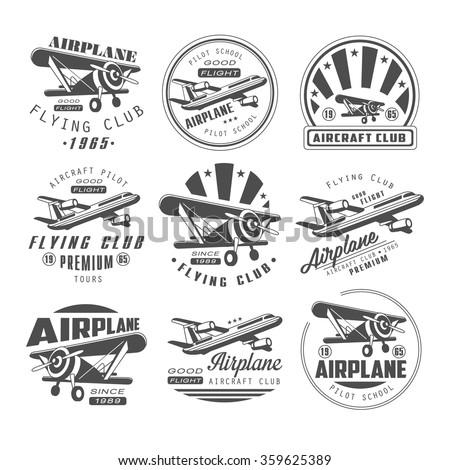 Airplane Club Vector Illustration Emblem, badges Set - stock vector