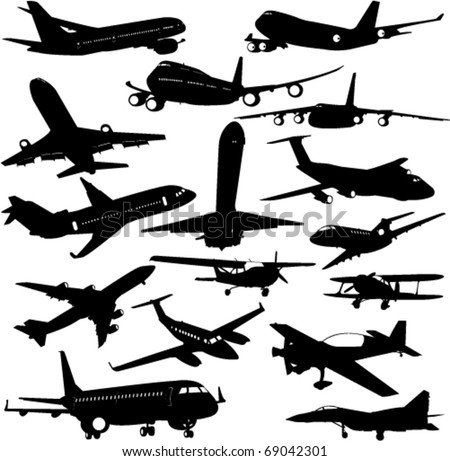airplane collection 3 - vector - stock vector
